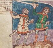 Двама мъже, въоръжени с викингски мечове - фрагмент от илюстрация на Щутгартския псалтир (лист 7В), 830 г.